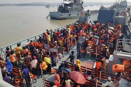 Rohingyas are being taken to Bhasanchar by ship